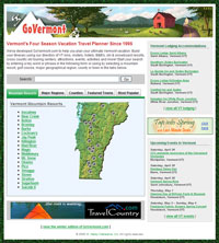 The GoVermont.com home page features navigation to mountain resorts, nordic ski centers, major regions, counties, towns and popular searches.