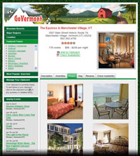 Detailed listings for lodging properties feature a tabbed view of descriptive copy, amenities, photos, a map and visitor reviews.