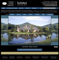 The VermontCountryProperties home page features an animated slideshow of luxury Vermont real estate for sale...